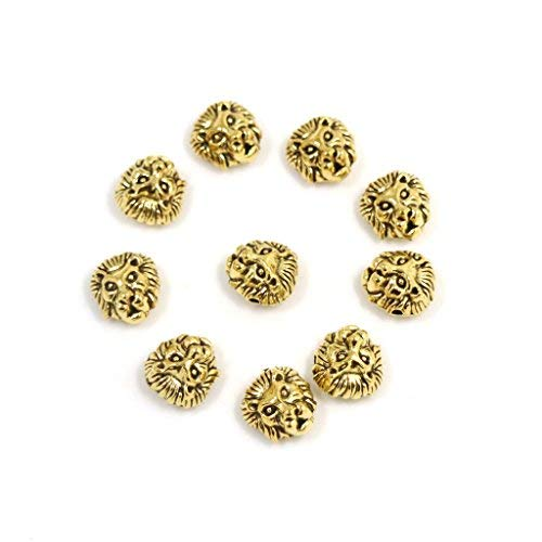 30Pcs Metal Lion Head Beads Antique Gold Tibetan Silver Spacer Beads for Bracelet Jewelry Making (Style 8)