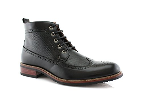 - Ferro Aldo Michael MFA806278 Mens Casual Wing Tip Perforated Mid -Top Brogue Boots – Black, Size 8.5