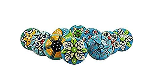 Artncraft 10 Pieces Set of Sky Blue Color Ceramic Knobs Drawer Pulls with Different Design & Chrome Hardware ()