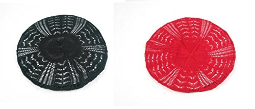 Women's Light Beret Knitted Style for Spring Summer Fall P135 (2 pcs BLK+RED)
