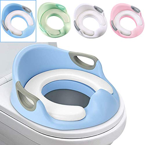 Potty Toilet Seat Luchild Toddlers Toilet Trainer Ring with Splash Guard Handles and Backrest Anti-Slip Potty Training Toilet Seat for Boys or Girls (Blue)