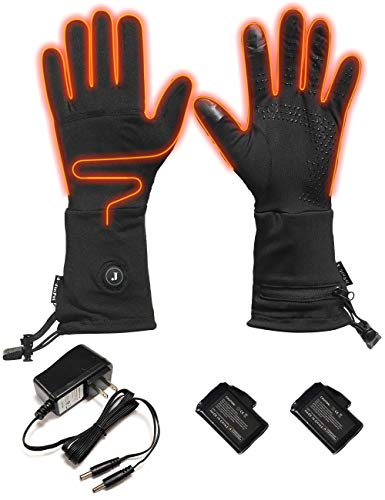 Goldfox Heated Gloves Liners Gloves for Men Women Rechargeable Battery Thin Thermal Heat Mitten Gloves Ski Snow Hand Warmer (M) (Heated Glove Liners Battery)