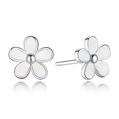 BAMOER 925 Sterling Silver Darling Daisy Hawaiian Flowers Stud Earrings with White Enamel Shiny - Daisy Floral Earrings