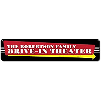 Drive-In Theater Arrow Sign ENSA1001412 Custom Personalized City State Sign