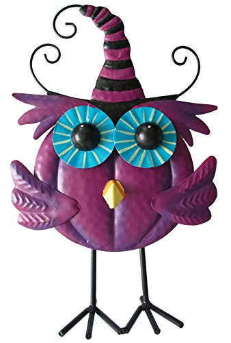 Metal Iron Standing Witchy Owl Halloween Table Décor by GIFTME 5 (purple,11.5inch) (Cute Halloween Owl)
