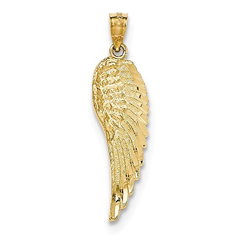 - 14k Yellow Gold Polished & Textured Angel Wing Pendant