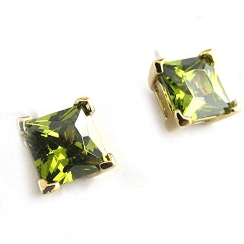 Les Trésors De Lily [N1712] - Boucles Plaqué Or 'Essentiel' olivine - 6 mm