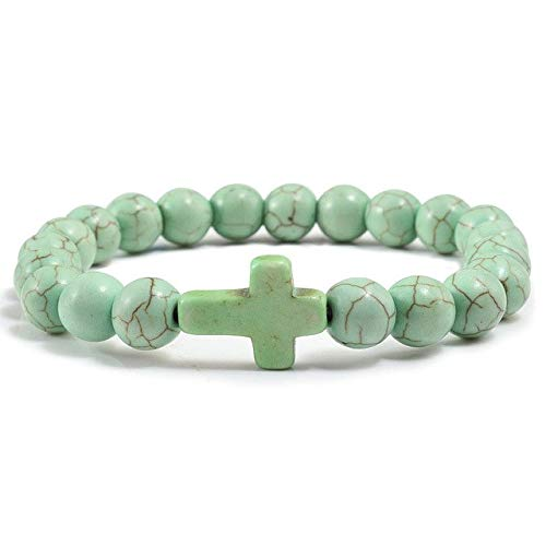 Gabcus Trendy Arrival Mens Beaded Jewelry 8mm Lava Stone Beads Turquoises Jesus Cross Bracelets Party Yoga Jewelry Women Mistress Gift - (Metal Color: Apple -