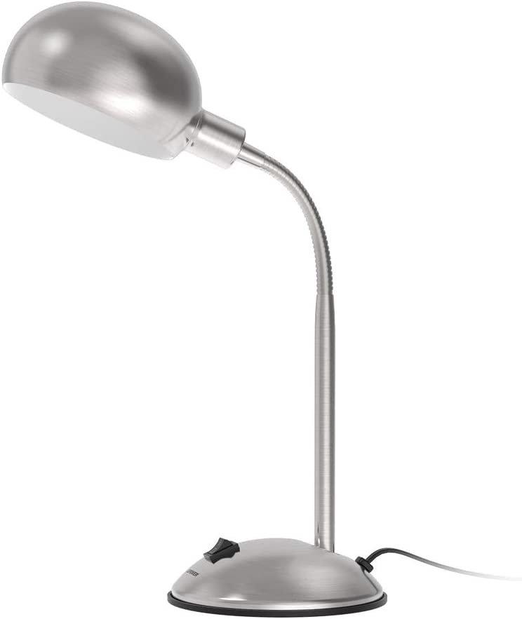LEPOWER Metal Desk Lamp, Flexible Goose Neck Table Lamp, Eye-Caring Study Desk Lamp with E12 Lamp Base, Adjustable Desk Lamp for Living Room, Bedroom, Study Room and Office (Silver)