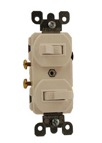 Leviton White Duplex Double Toggle Wall Light Switch 15A Sin