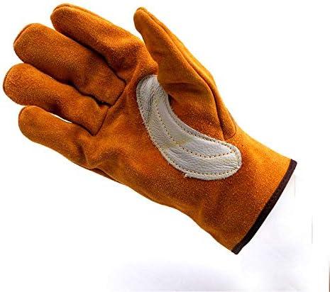 AMAZACER 牛革レザー耐熱溶接手袋、作業手袋溶接/ガーデニング/キャンプ/暖炉/ハース/レンジ/バーベキューなど(ゴールデンイエロー)、3Pair -for (Size : 2pair)