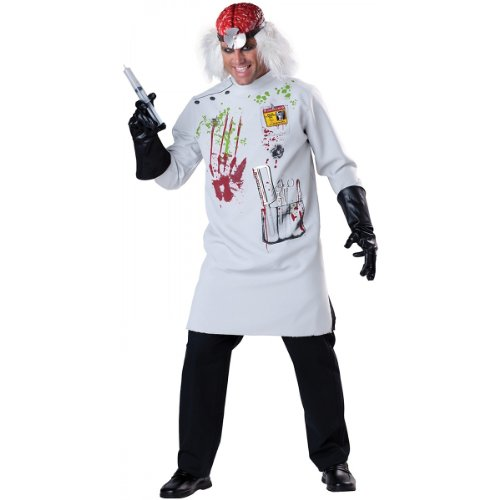 InCharacter Costumes Men's Mad Scientist Costume, White/Red/Black, Large