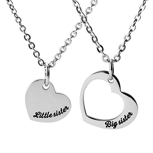 Meibai Stainless Steel Sister Necklace Set Big Sister Little Sister Cutout Heart Pendant Set of Two Necklace (Necklace Set) Little Sister Heart Charm