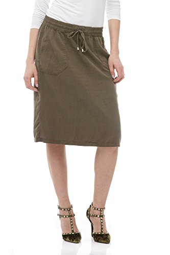 Esteez Denim Knee Length Skirt for Women 100% Tencel Savannah Olive Large