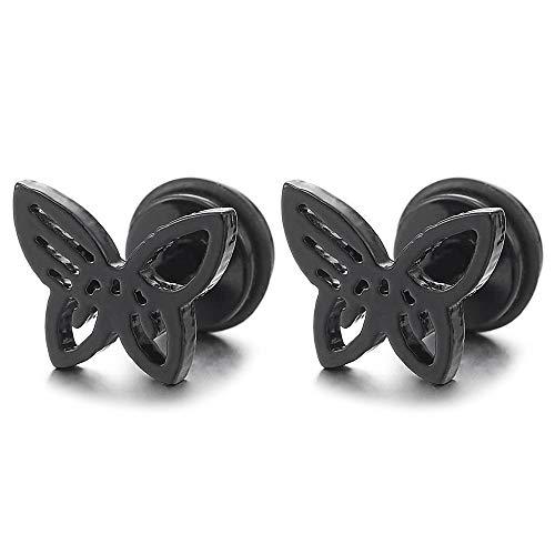 Pair Womens Girls Stainless Steel Black Butterfly Stud Earrings, Screw Back, Exquisite (Black Butterfly Earrings)