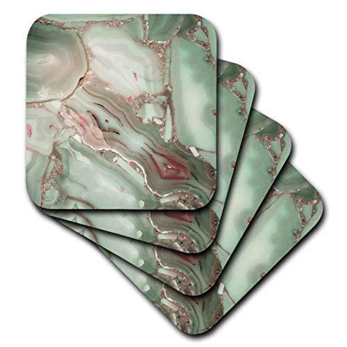 3dRose Image of Luxury Light Green Marble Agate Gem Mineral Malachite Quartz Soft Coasters