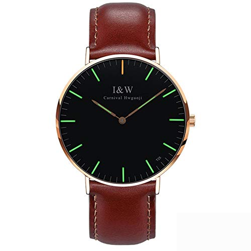 - Women Simple Ultra Thin Synthetic Sapphire Mirror Tritium Luminous Cowhide Band Quartz Waterproof Watches (Brown Band-Rose Gold Case-Green Light)