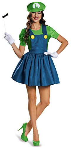Luigi Outfit (Ladies Mario AND Luigi 80s Plumbers Videogame TV Film Fancy Dress Costumes Party Outfits (M, green))