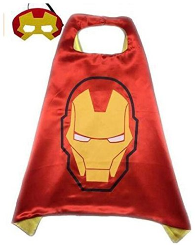 [Kids Cape & Mask Superhero Boy Girl Party Costume Set Superman Batman Spiderman Iron Man Cape Only] (Iron Man Shirt And Mask Costumes)
