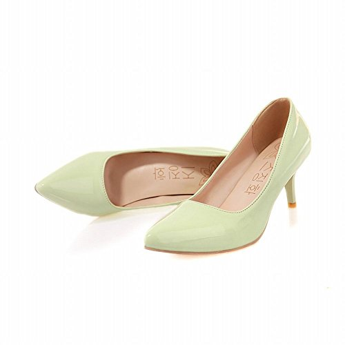 Latasa Womens Solid Color Pointed Toe Mid Heel Pumps Light Green CtFmj2hpgA