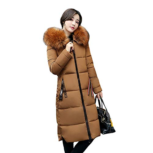 Beebeauty Women's Mid-Length Thickened Fur Hooded Down Jacket Parka Puffer Jacket(Caramel Colour-XL)