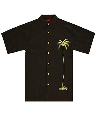 - Bamboo Cay Mens Single Palm, Embroidered Short Sleeve Hawaiian Shirt (2XL, Black)