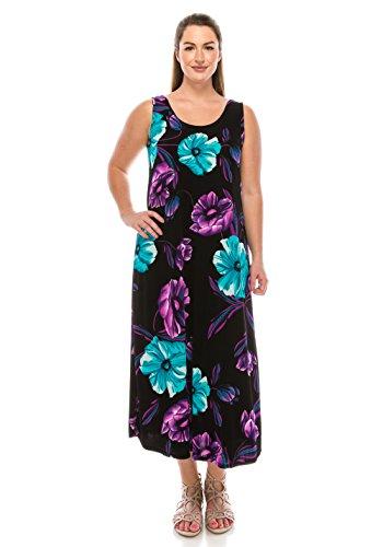 Dress Tank Purple Long Jostar W099 Women's Print Stretchy qg0tgnIw7