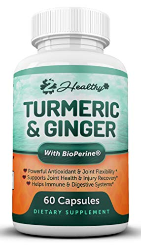 Turmeric Curcumin with Ginger & Bioperine - Best Joint Pain Relief, Anti-Inflammatory, Antioxidant & Anti-Aging Supplement with 10mg of Black Pepper for Better Absorption (60 Count)