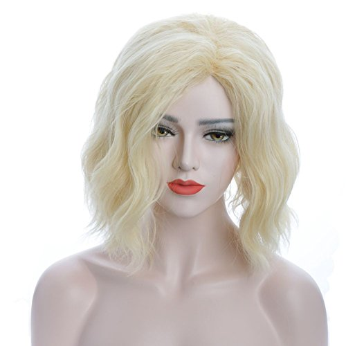 Karlery Women's Short Bob Wave Light Blonde Wig Halloween Cosplay Wig Anime Costume Party Wig]()