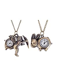 Set of 2 Outstanding Bronze Coloured Quartz Pocket / Necklaces Watches With Cupid Angel And Bunny Shaped Decorative Casings On Long Chains By VAGA