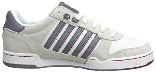 K-Swiss Jackson - Zapatillas de Piel para Hombre, Weiß (Wht/BNE/CHRCL/BKNG Red 141), 40