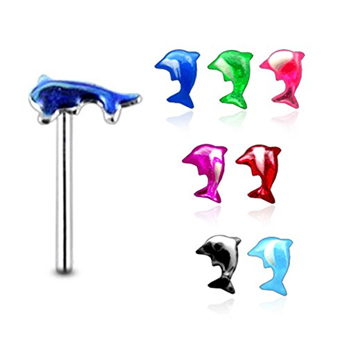 20 Pieces Mix Color Hand Painted Dolphin 925 Sterling Silver Nose Pin Straight End 20Gx5/16 (0.8x8MM). Pack in Acrylic - Dolphin Hand Painted