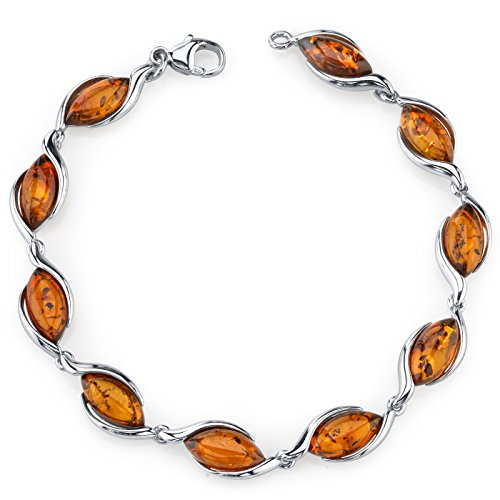 (Baltic Amber Bracelet Sterling Silver Cognac Color Marquise Shape)