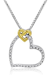 Sterling Silver and 14K Gold Diamond Heart Pendant-Necklace (1/10ct tw)