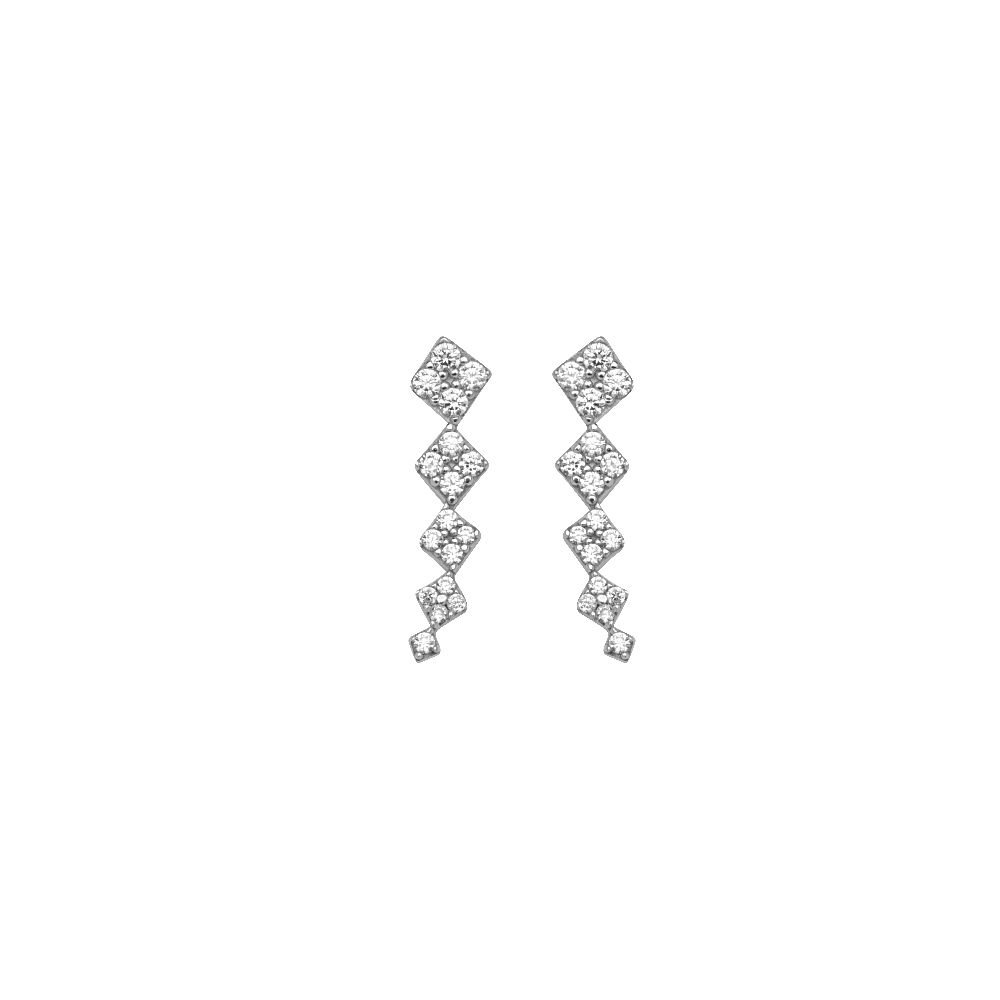 Sterling Silver Graduated Square Shaped Climber Earrings
