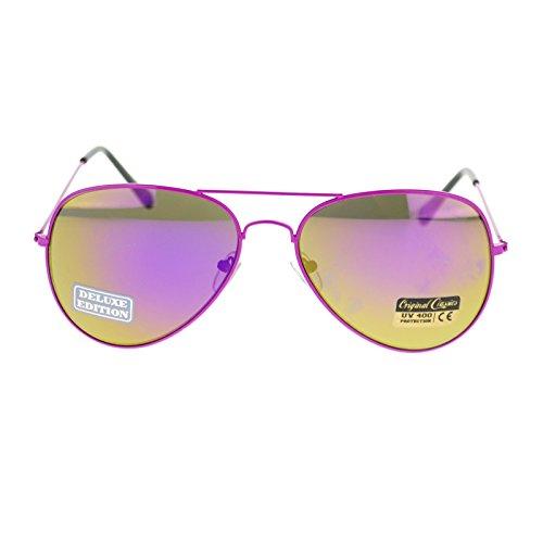 Unisex Pop 80s Neon Metal Wire Rim mirrored Lens Aviator Sunglasses - Cop Glasses