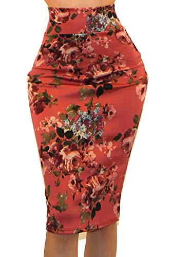 Vivicastle Women's High Waist Band Bodycon Career Office Midi Pencil Skirt (X-Large, II11, Multi) (Shirt Pencil Skirt)