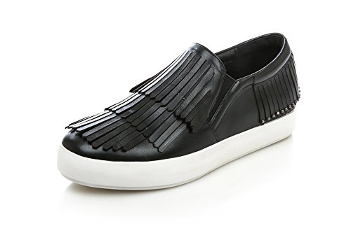 Loafers Closure No Shoes Pleather Black Heels MMS05782 Tassels Womens Low Flatform 1TO9 1q8XYwW
