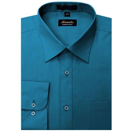 Amanti Ocean Blue Colored Men's Dress Shirt Long Sleeve Classic ()