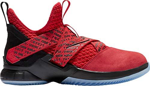 Nike Kids' Grade School Lebron Soldier XII Basketball Shoes (Red/Black, 4.5 M US) (School Boys 12 Lebron Grade Shoes)