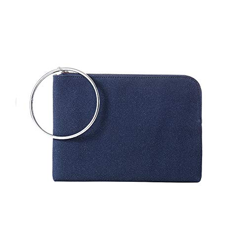 Ring Clutch Purses Faux Suede Clutches Bags Handbag for Women Pouches Casual Leopard Print Linning(Navy Blue)