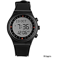 Hitopin Islamic Digital Azan Watch Black color for all Muslim Azan Prayer Watch for Muslim clock Azan Clock with Nice Package HP--6506 BW