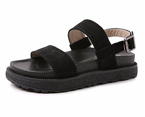 Dito infradito Shoes Boemia romano Piatto Ragazza Cinghia Ciabatte Scarpe Donna HN sandali cinghietti Estate piede Caviglia Aperto del black Spiaggia wOYd0q