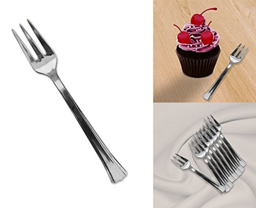 Mini Silver Disposable Dessert And Appetizer Forks Set Of 96, 4.5 Inches by Premium Disposables (Image #4)