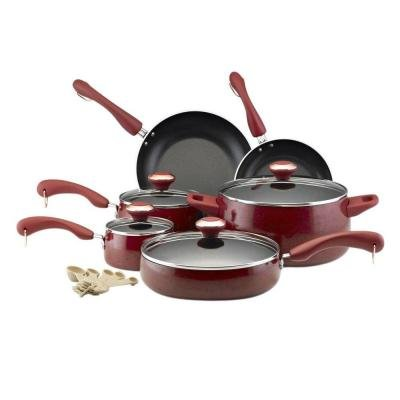 Signature Porcelain 15-Piece Cookware Set in Red Speckle