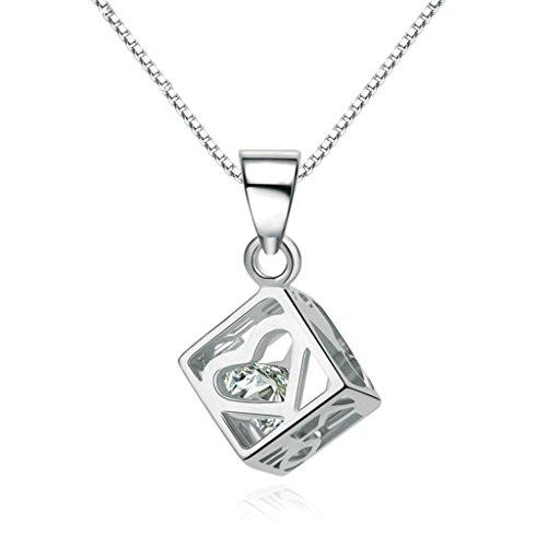 Women 925 Silver Plated Hollow Heart Pendant Necklace + Bracelet + Earrings Jewelry Set - 5