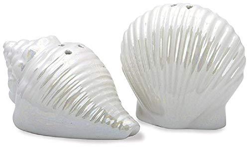 - Pearlescent Seashells Novelty Salt and Pepper Shaker Set
