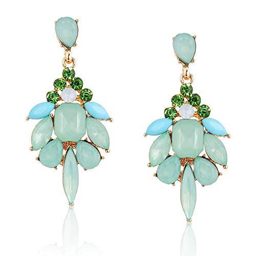 palettei Elegant Crystal Earrings Gem Stone Resin Drop Earrings Trendy Fashion Bijoux Bohemia Brincos (Green)