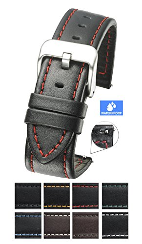 Black Red Leather - Genuine waterproof leather watch band with quick release spring bars - black leather watch strap 24mm - red stitching
