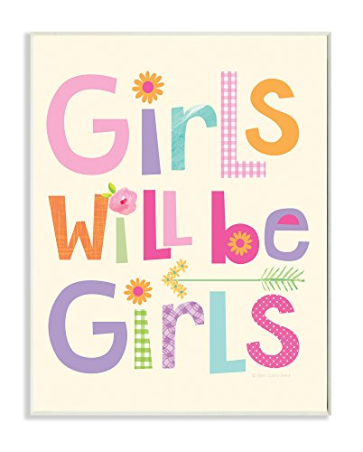 Stupell Home Décor Girls Will Be Girls Multi-Color with Arrow Wall Plaque Art, 10 x 0.5 x 15, Proudly Made in USA by The Kids Room by Stupell